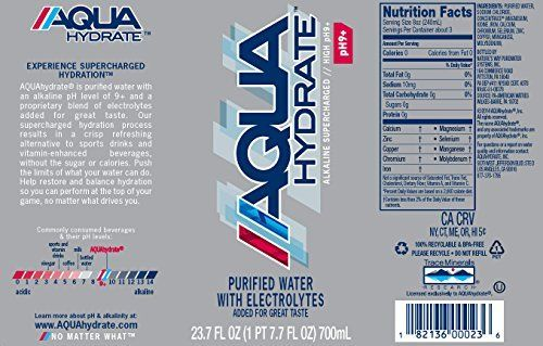 Aquahydrate Electrolyte Enhanced Water Ph9 Kdwuuj 1l Pack Of 24