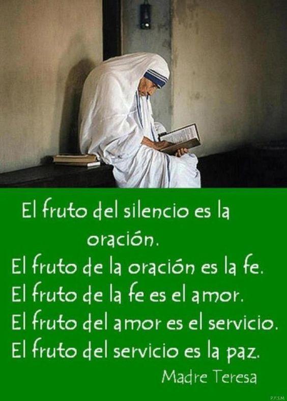 El fruto del silencio es la oración el fruto de la oración