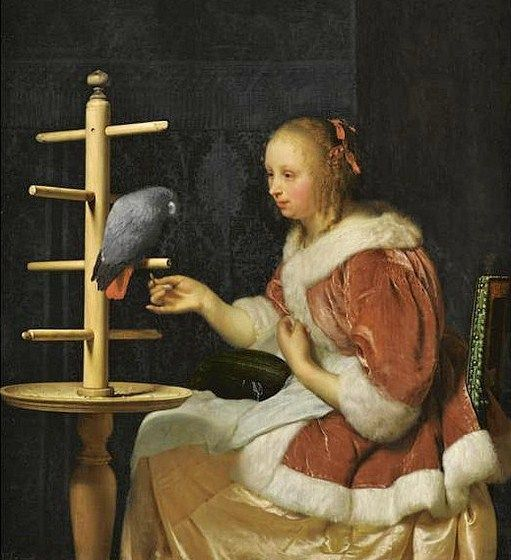Caspar Netscher (Dutch, c 1635-1684) Young Woman Feeding a Parrot