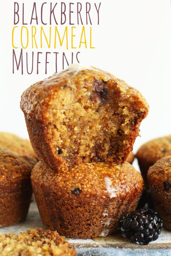 1-Bowl Blackberry Cornmeal Muffins - SIMPLE, AMAZING muffins made in 1 BOWL!