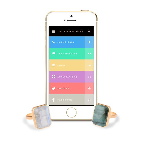 Using Bluetooth LE-technology, Ringly connects to your phone and sends you customized notifications through vibration and light.