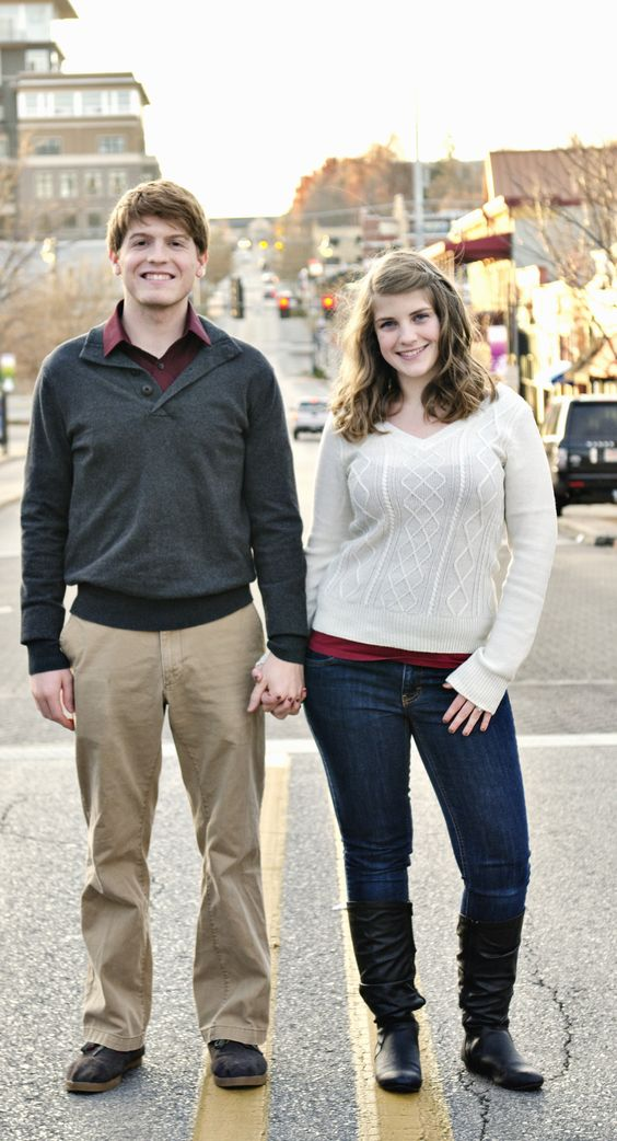 engagement pic in the middle of the street