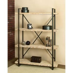 Litton Lane 67 In Espresso Brown Metal 4 Shelf Etagere Bookcase With Open Back 34853 The Home Depot Wood Storage Shelves Shelves Wood Bookshelves