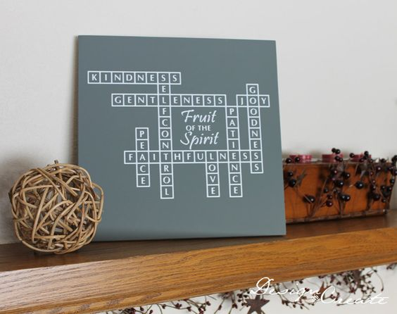 Fruits of the Spirit - Crossword Wood Sign - Custom Made - Love Joy Peace Patience Kindness Goodness Faithfulness, Bible verse scripture. $27.00, via Etsy.
