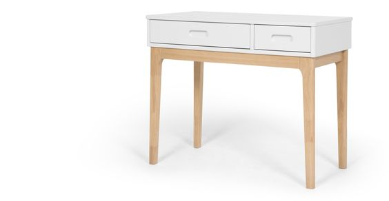 Linus desk, pine and white