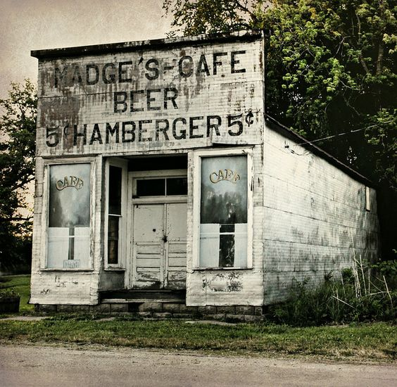 """""""Abandoned Roadside Cafe"""" -- [*Madge's Cafe* in Millerton, Wayne County, Iowa]~[Photograph by Lights in the Old Farmhouse (Away) (Shari) - May 20 2012 - Millerton, Iowa - US]'h4d-277.2013'"""