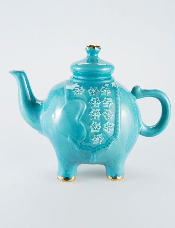 Beautiful tea kettles and turquoise on pinterest - Elephant shaped teapot ...