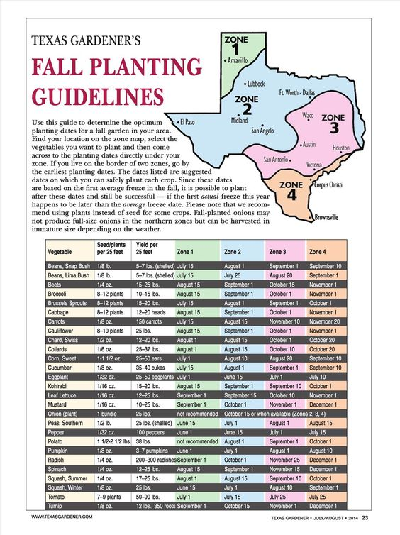 Fall Planting Dates for Texas