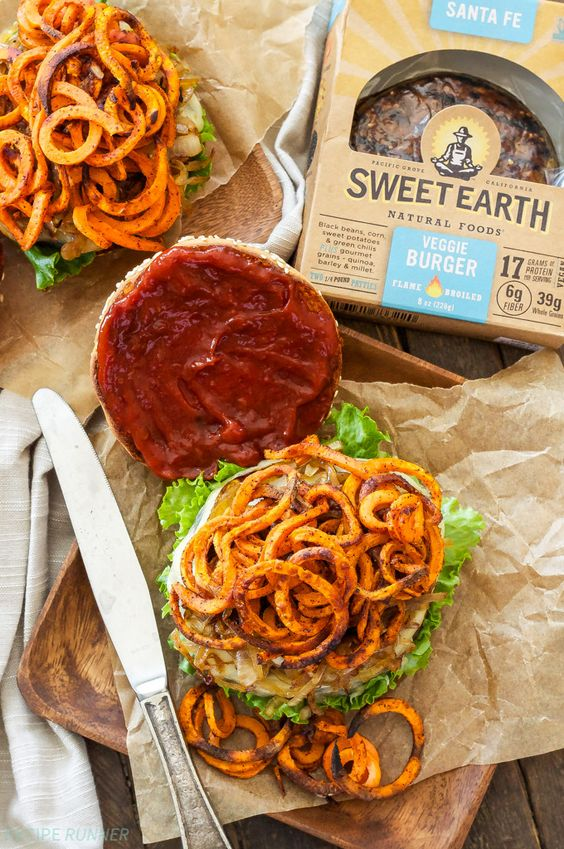 Sweet Earth Santa Fe Veggie Burger with Sweet Potato Fries, Caramelized Onions & Chipotle Ketchup | Get Ready for Grilling Season!
