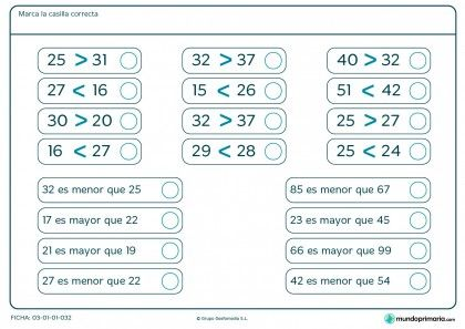 Ficha de marcar las casillas correctas para Primaria