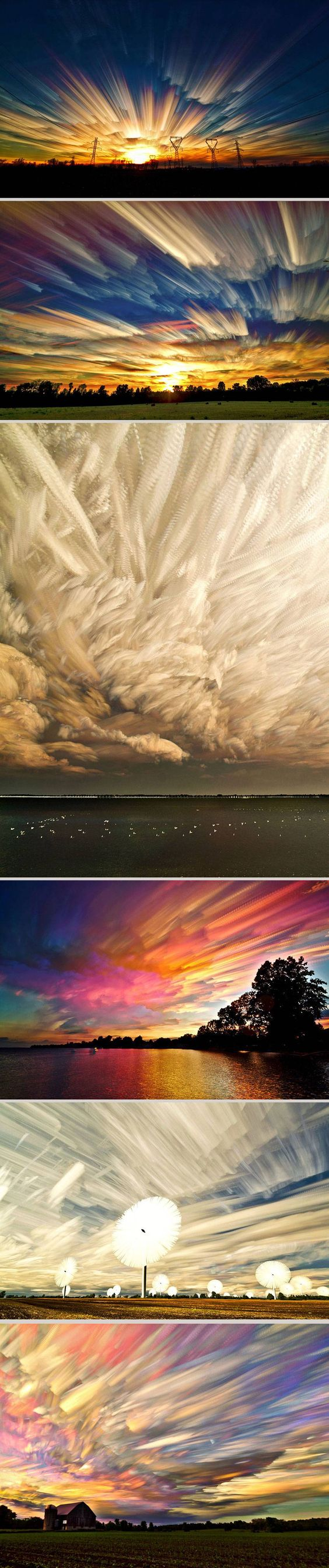 """Canada-based photographer Matt Molloy brings sky photography to a new level. By stacking hundreds of separate sky shots he is able to achieve an incredible brush-like effect. Each final picture in his """"Smeared Sky"""" series is a result of combining from 100 to 200 photographs."""