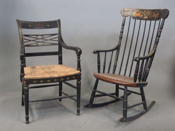 Alfonso Marina Ebanista Black Gold Painted Chair L
