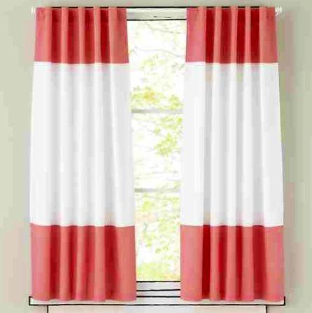 Red Curtains coral colored curtains : Coral color block curtains   Curtains   Drapes   Pinterest ...