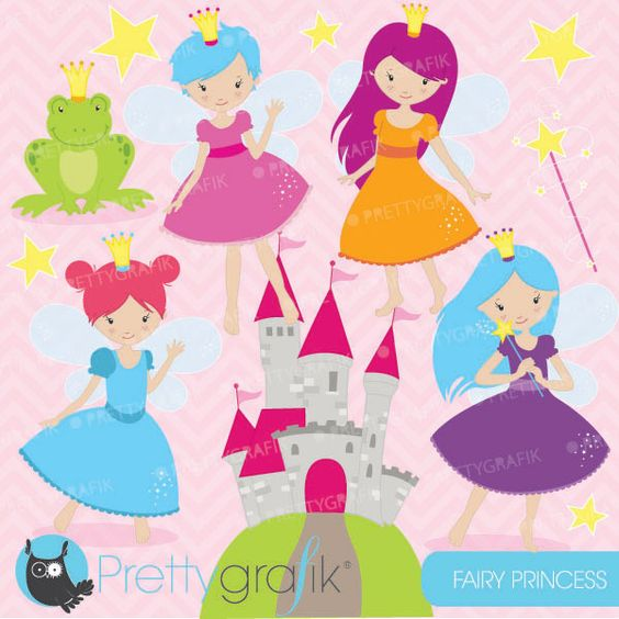 Fairy princess clipart - great for party invitations, scrapbooking and crafts.
