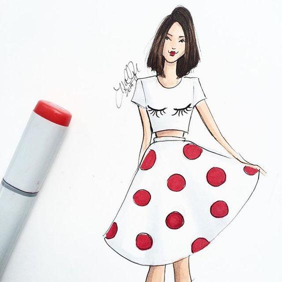Fun + Flirty ❤️ #fashionsketch #fashionillustrator #fashionillustration #polkadots #bostonillustrator #bostonblogger #copicart #choppedhair