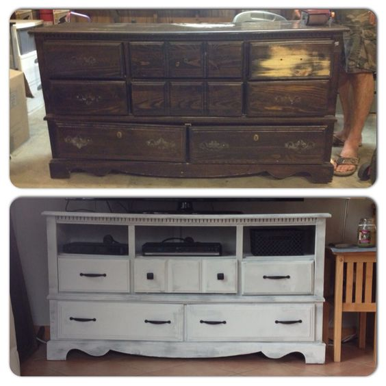 Custom entertainment center Old dressers and Drawers on