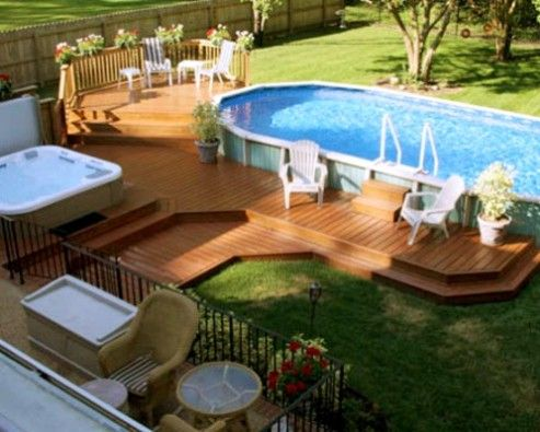 Above ground pool with deck surround why an above ground for Garden pool surrounds