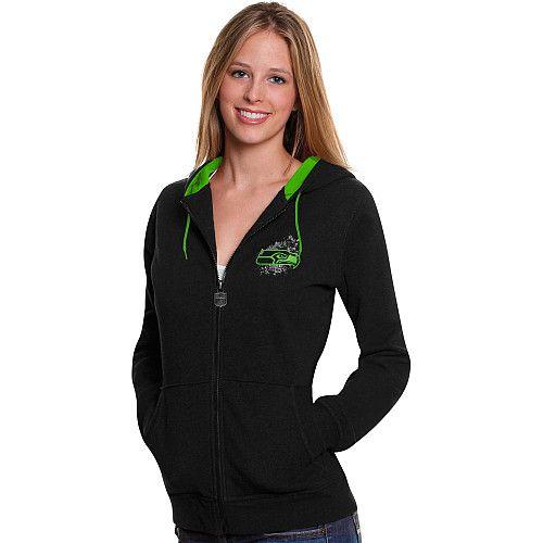 Women's Pro Line Seattle Seahawks Elite Metallic Fortune Full Zip Hooded Sweatshirt - NFLShop.com size large