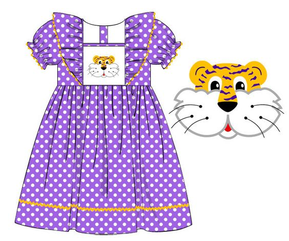LSU Smocked Dress (Pre-Order - Early August)