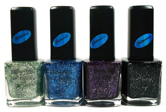 BYS Glitterazzi-Krptonite, Lulu Blue, Vodoo Violet and Thunderstorm