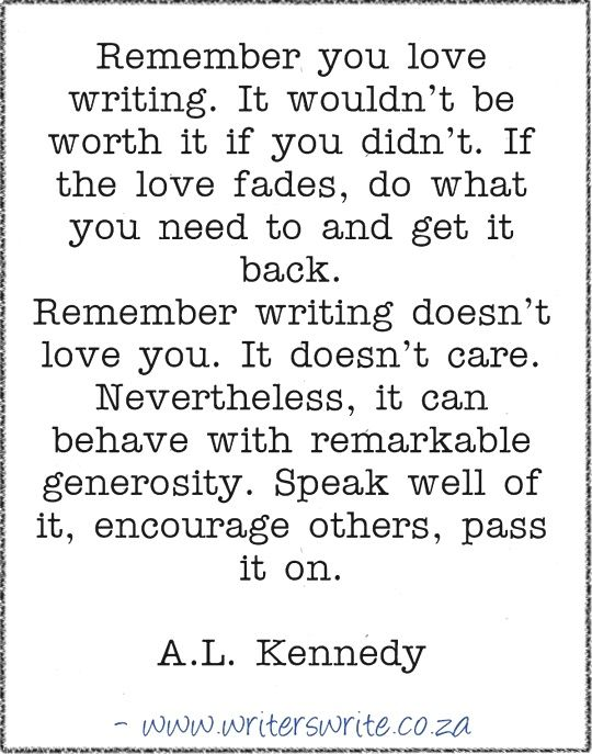 Quotable – A.L. Kennedy – Writers Write
