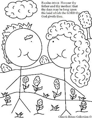Honor Thy Mother And Father Coloring Page With Images Sunday