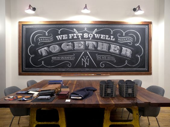 We fit so well together. Hand-chalked lettering