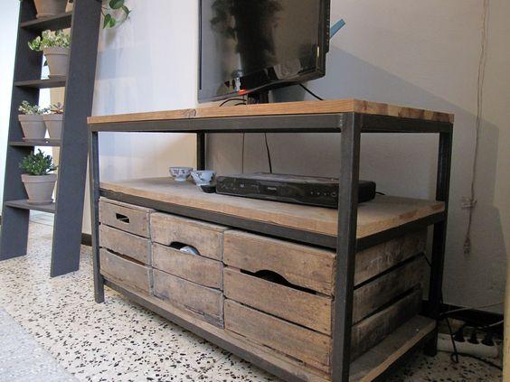 caisse bois deco tendance 2 meuble tv pinterest wine boxes pallets and industrial - Meuble Caisse En Bois