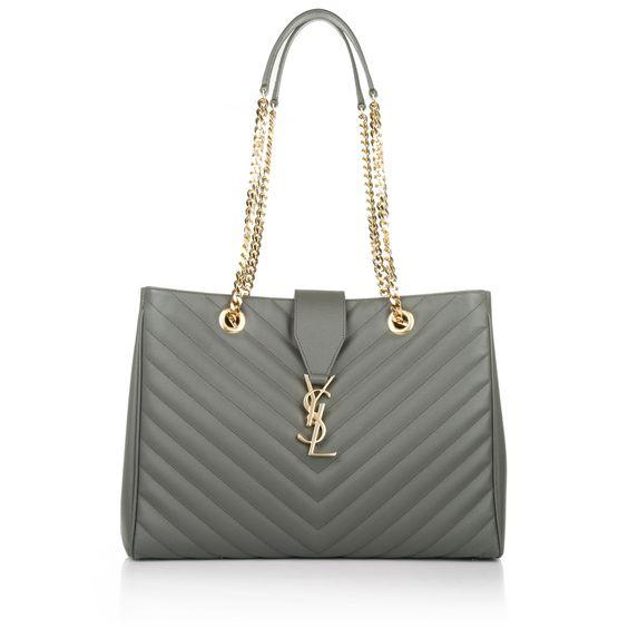 Saint Laurent Monogramme Shopping Bag Grain de Poudre Earth bei Fashionette