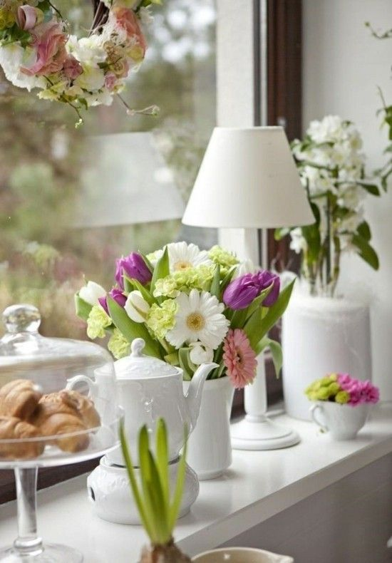 Fensterbank Deko 40 Stimmungsvolle Dekoideen Zu Ostern Spring Window Window Sill Decor Bay Window Decor