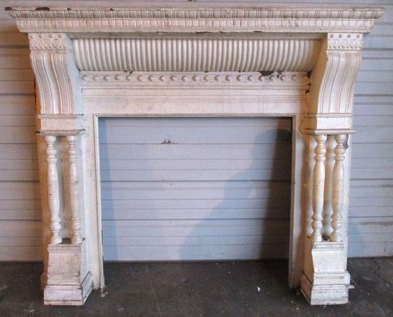 antique carved walnut fireplace mantel ~ architectural salvage ...