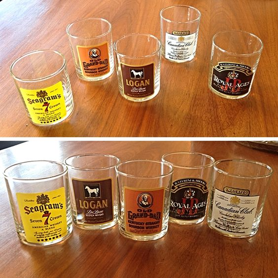 #Vintage #MidCenturyModern #Whiskey Glass Set With Decals -Pricing & Info @Link Below.  | Rocket Century  - St. Louis, MO