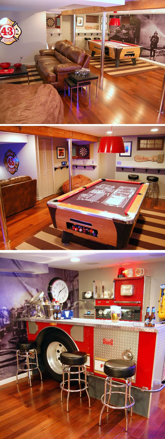 Urban Man Cave Fire : Man caves with meaning pool tables and fire trucks