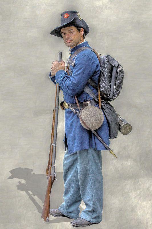 Union Civil War Soldier Black Hats Ver 2 Art Print By Randy Steele Civil War Civil War Art American Civil War