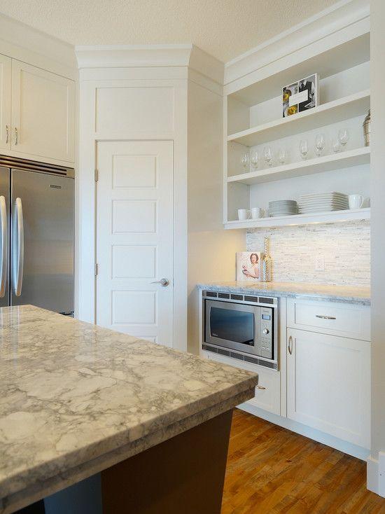 Built In Microwave Open Shelving And Corner Pantry Corner