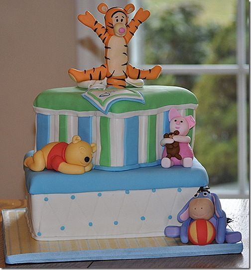Baby Winnie The Pooh And Friends Baby Shower Cake