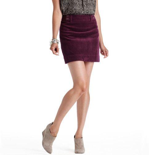 Loft - LOFT Skirts - Wide Wale Corduroy Mini Skirt, Deep Raisin