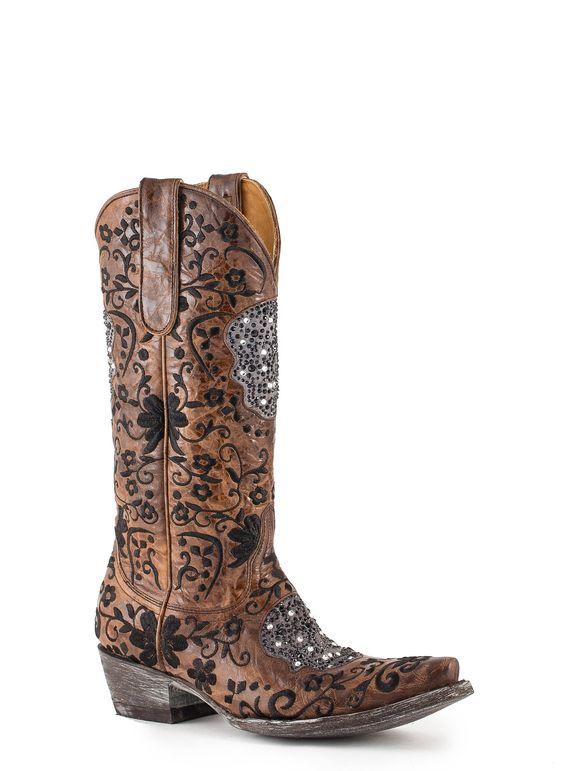 L2178-1   Allens Boots   Women's Old Gringo Calaca Boots Swarovski Brass #L2178-1 (Klak)