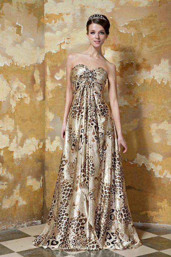 Leopard Herz Ausschnitt A Linie Langes Abendkleid Perlen $230.99 Abendkleider Lang