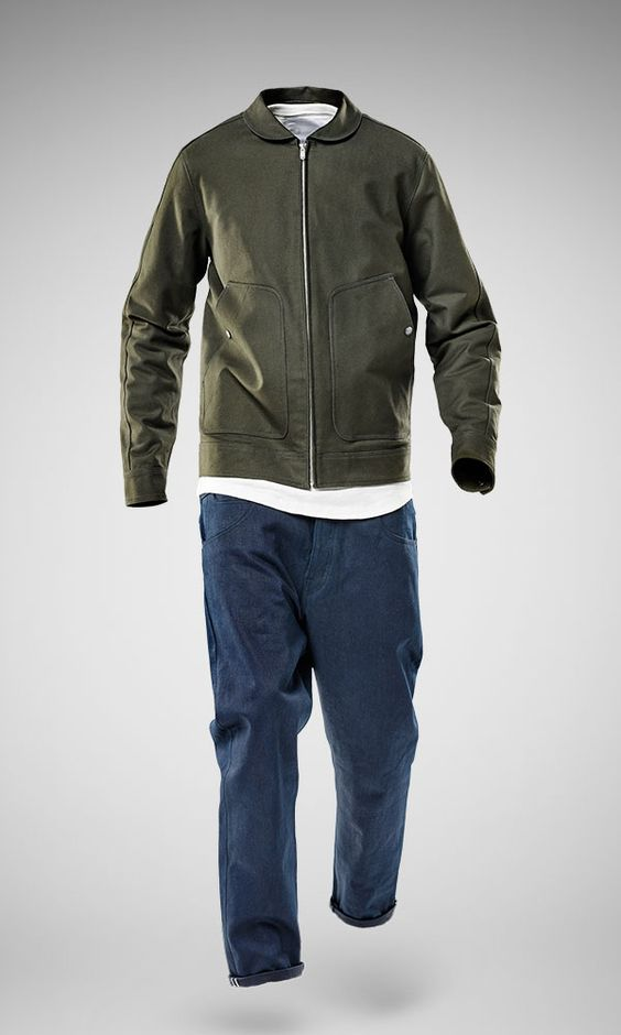 The Marc Newson Twill Zip Out Jacket and 5 Pocket Denim Slim from the G-Star RAW by Marc Newson 10 Year Anniversary Collection.