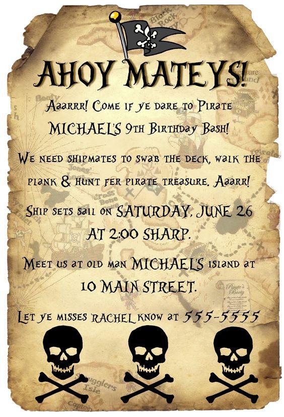 Pirate birthday party invitations templates - photo#22