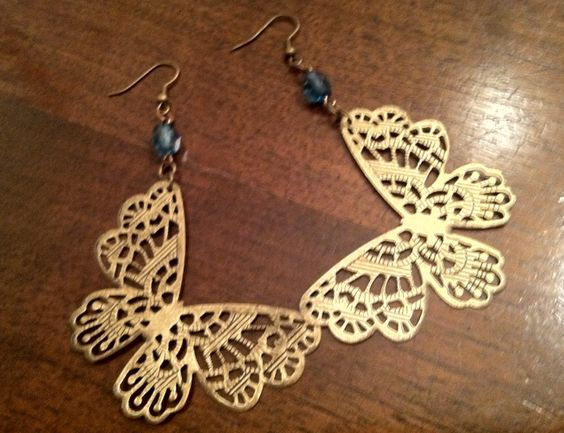 butterfly earrings made from pieces old jewelry