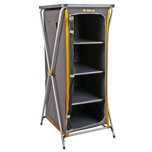 Oztrail Deluxe Folding 4 Shelf Cupboard In 2020 Storage Camping Storage Cupboard