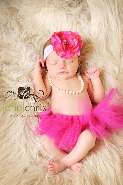 Cutest little tutu & bow, the pearls just make this photo that much more special! Would love to do this for my baby girls first baby photos!