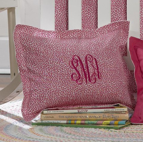 Candy Pink Wild Safari Baby Pillow Sham with Vine Monogram. Personalize your nursery with a monogrammed baby sham from Liz and Roo! Made in America.