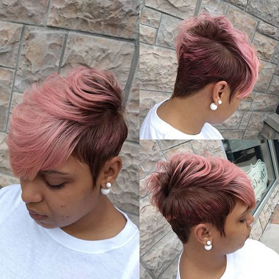 Layered Short Red or Pink Hairstyle for Black Women