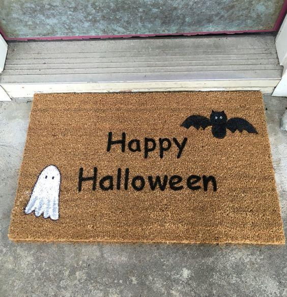 A personal favorite from my Etsy shop https://www.etsy.com/listing/463619832/custom-door-mat-halloween-door-mat-happy