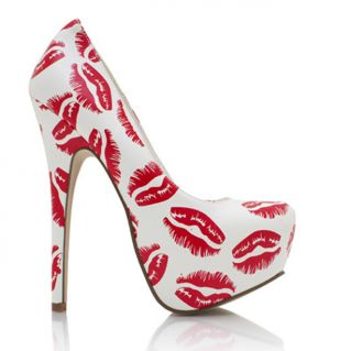 White Red kiss Almond Toe High Heel Platform Pump Styluxe | Shoes ...