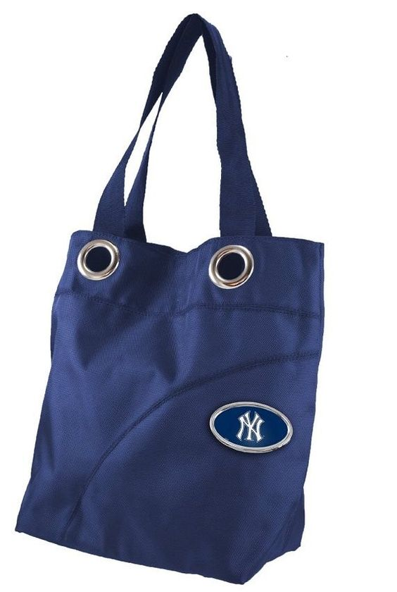 $19.99 NEW MLB New York Yankees Grommet Sheen Tote / Large Purse Handbag Black #NewYorkYankees