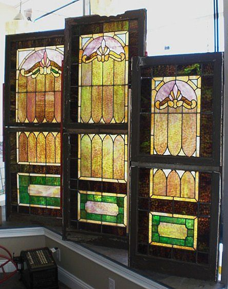 Set Of 3 All Matching Double Hung Stained Glass Windows 6
